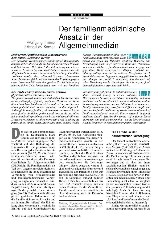 Der Familienmedizinische Ansatz In Der Allgemeinmedizin
