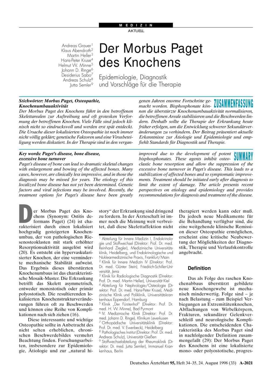 Der Morbus Paget Des Knochens Epidemiologie Diagnostik Und