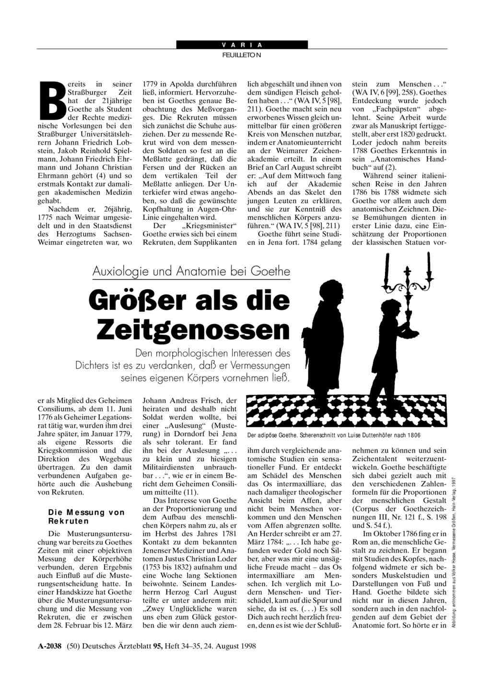 Auxiologie und Anatomie bei Goethe: Größer als die Zeitgenossen