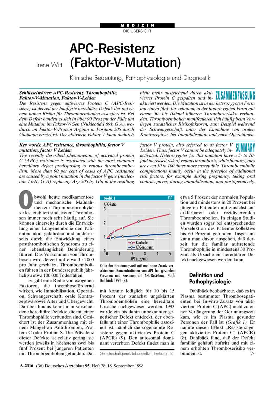 apc resistenz faktor v mutation klinische bedeutung pathophysiologie und diagnostik - Man Kann Nicht Nicht Kommunizieren Beispiel