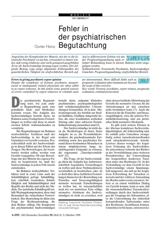 Fehler in der psychiatrischen Begutachtung