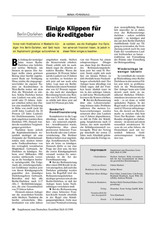 Berlin-Darlehen: Einige Klippen für die Kreditgeber
