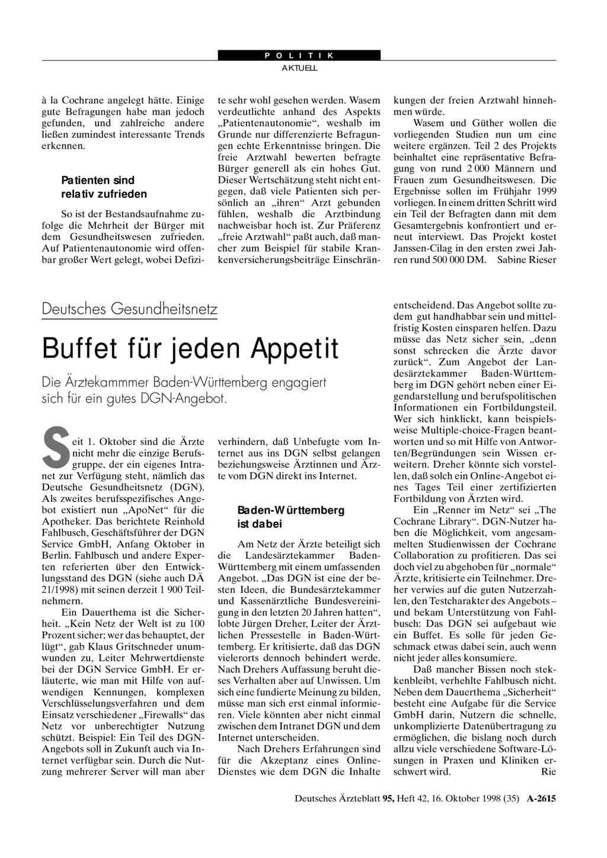 Deutsches Gesundheitsnetz Buffet Für Jeden Appetit