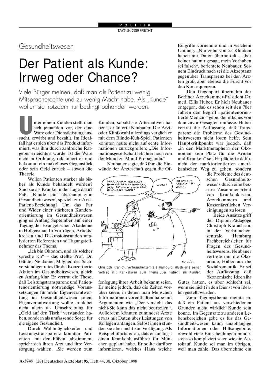 Gesundheitswesen – Der Patient als Kunde