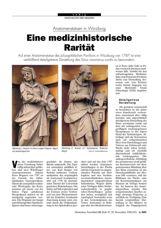 Anatomenstatuen in Würzburg: Eine medizinhistorische Rarität