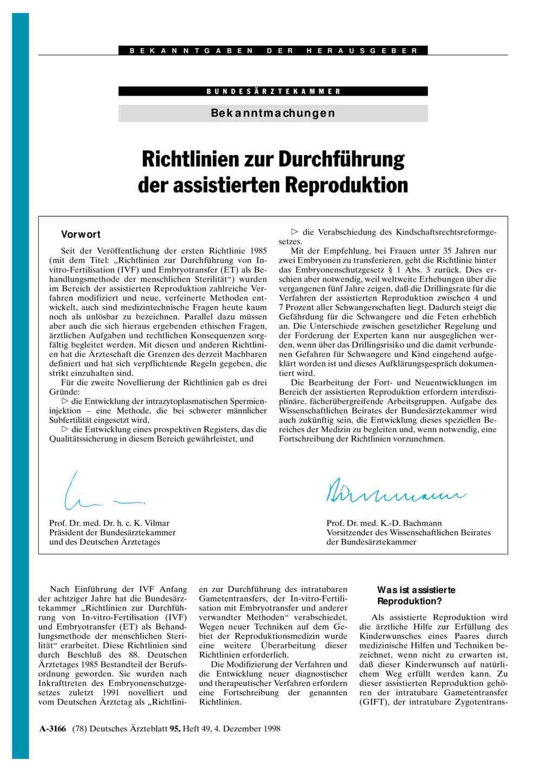 Richtlinien zur Durchführung der assistierten Reproduktion