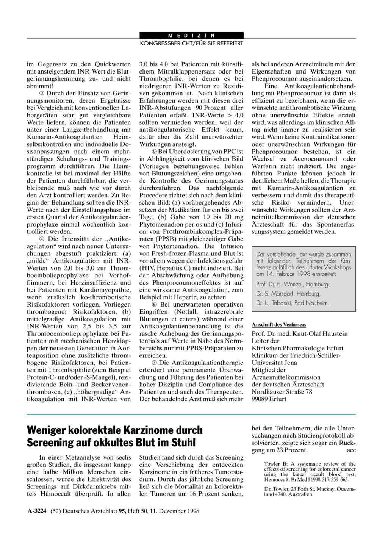 Weniger Kolorektale Karzinome Durch Screening Auf Okkultes Blut Im