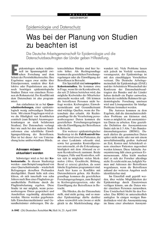 Epidemiologie und Datenschutz: Was bei der Planung von Studien zu ...