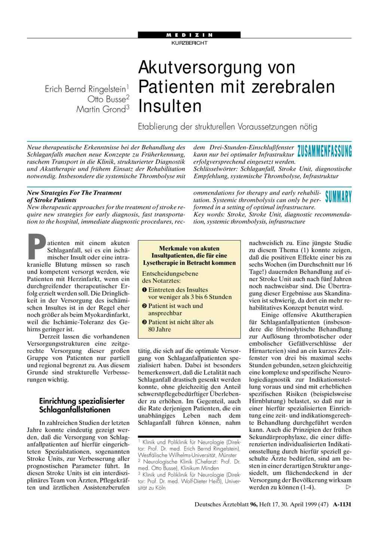 Akutversorgung Von Patienten Mit Zerebralen Insulten Etablierung