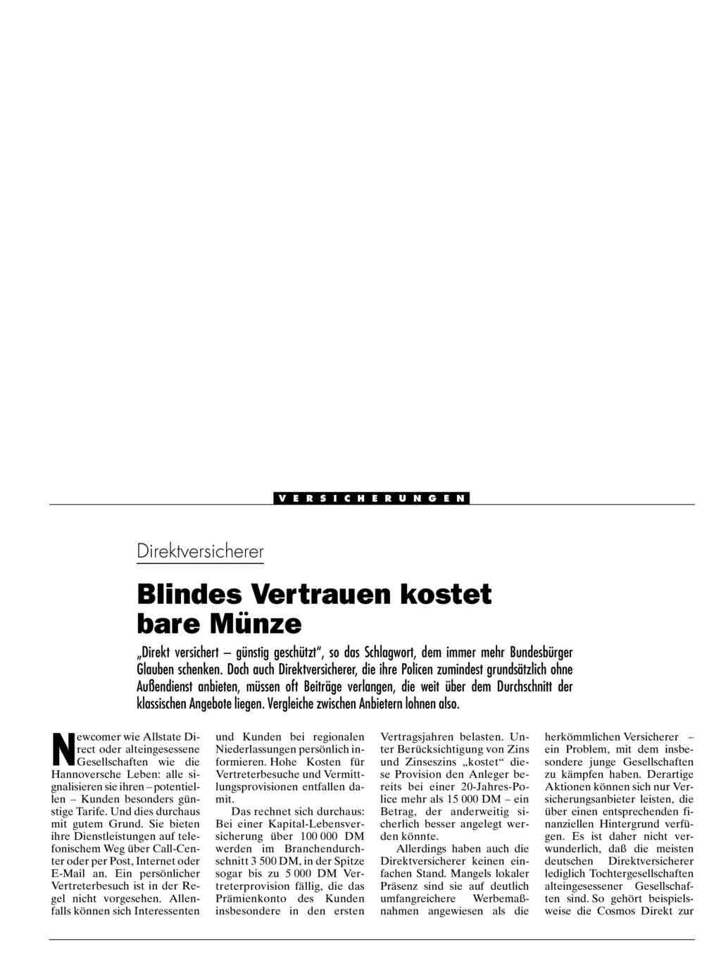 Direktversicherer Blindes Vertrauen Kostet Bare Munze