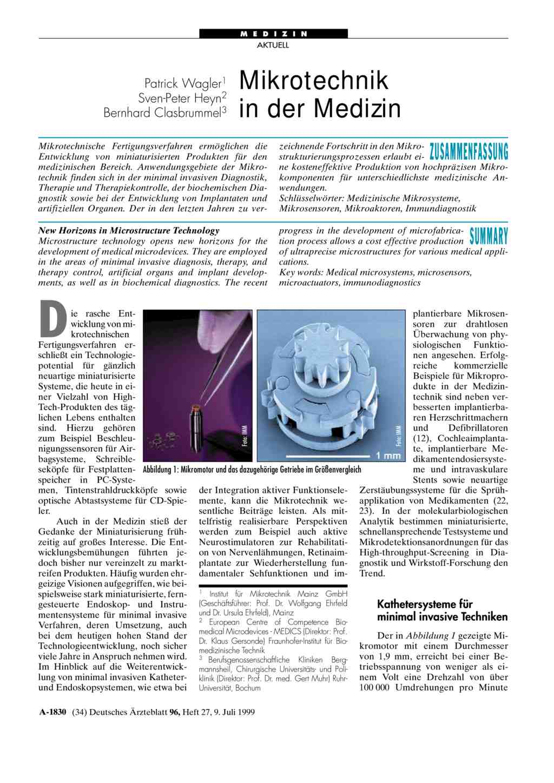 Mikrotechnik in der medizin for Medizin studieren schweiz