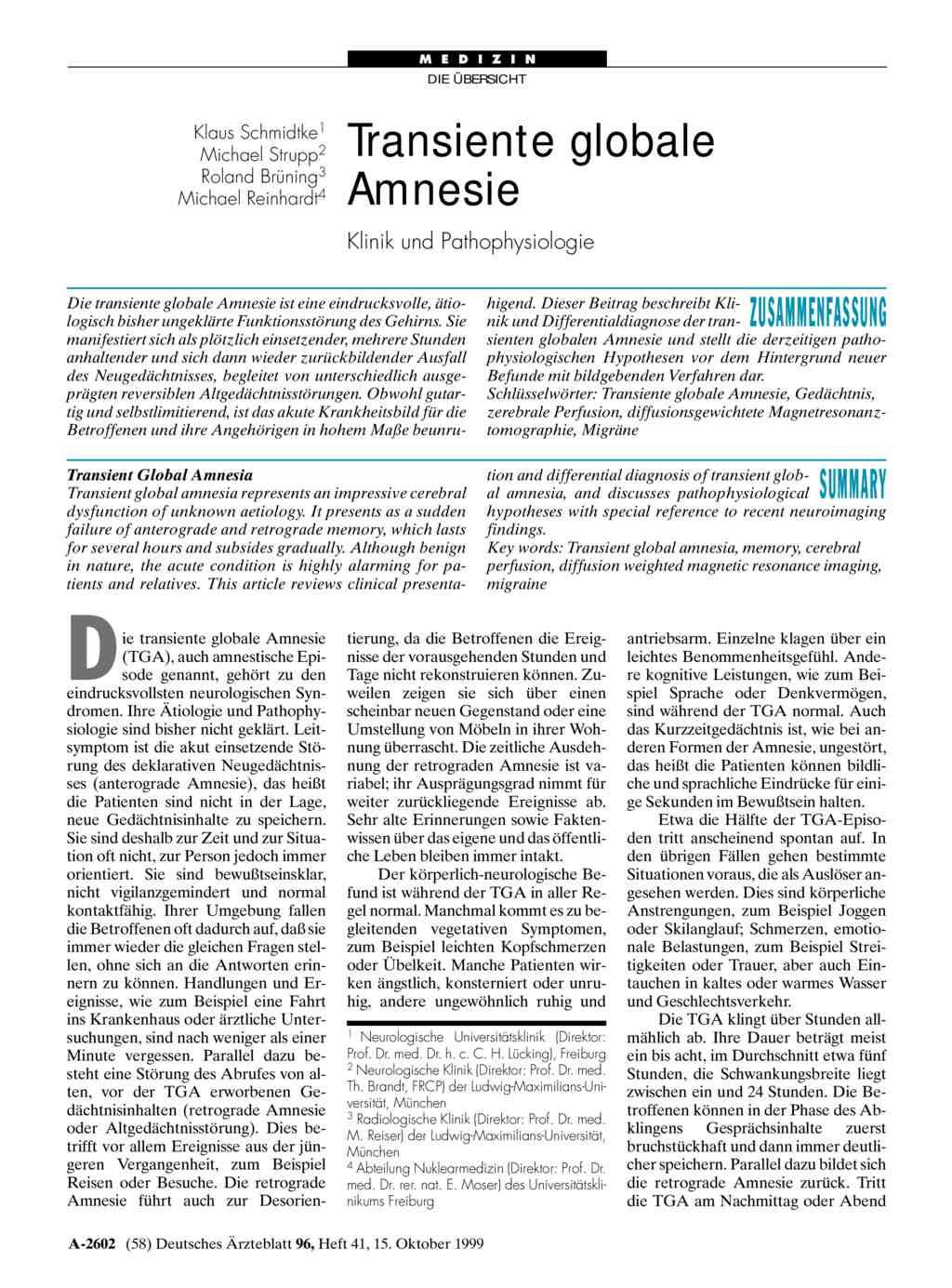 Transiente globale Amnesie: Klinik und Pathophysiologie