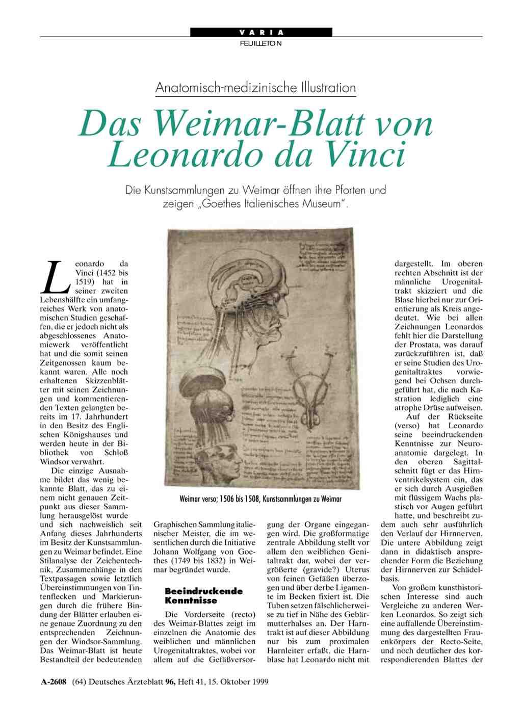 Anatomisch-medizinische Illustration: Das Weimar-Blatt von Leonardo ...