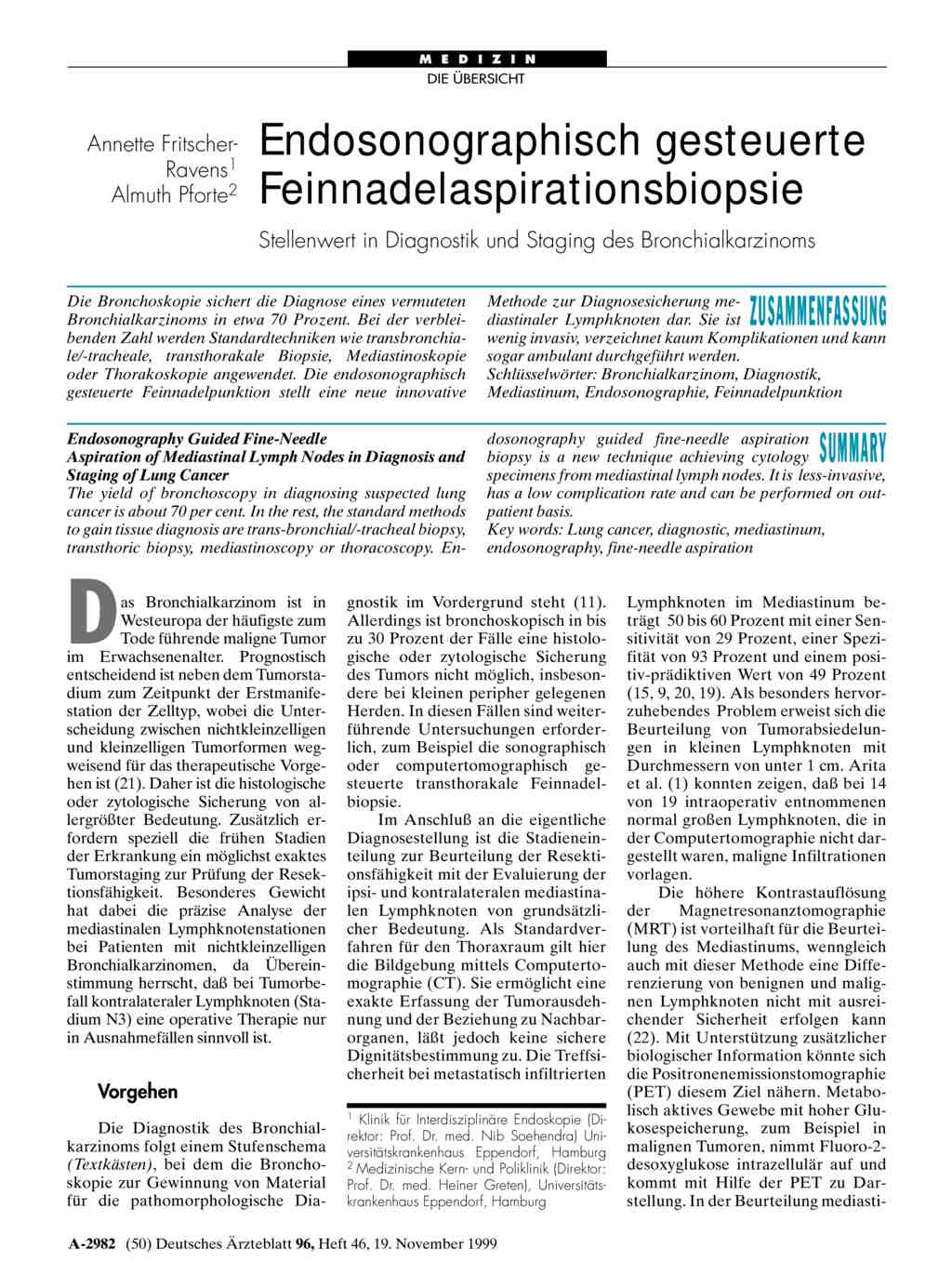 Endosonographisch gesteuerte Feinnadelaspirationsbiopsie ...