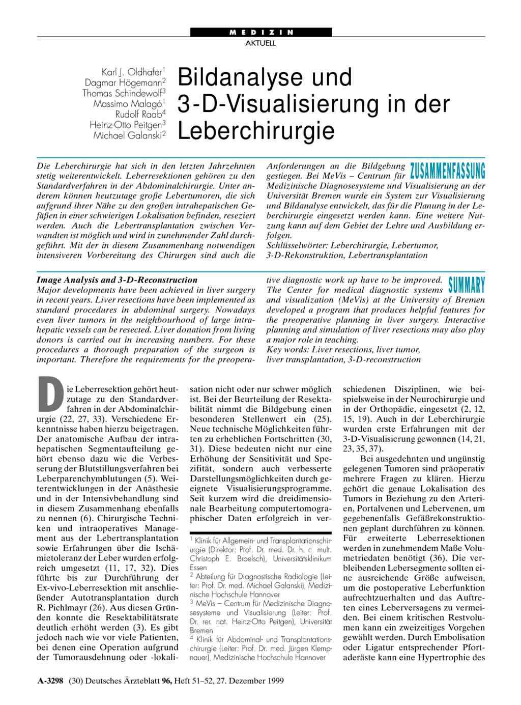 Bildanalyse und 3-D-Visualisierung in der Leberchirurgie