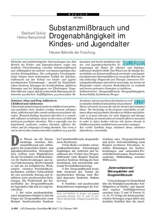 Substanzmißbrauch und Drogenabhängigkeit im Kindes- und Jugendalter ...