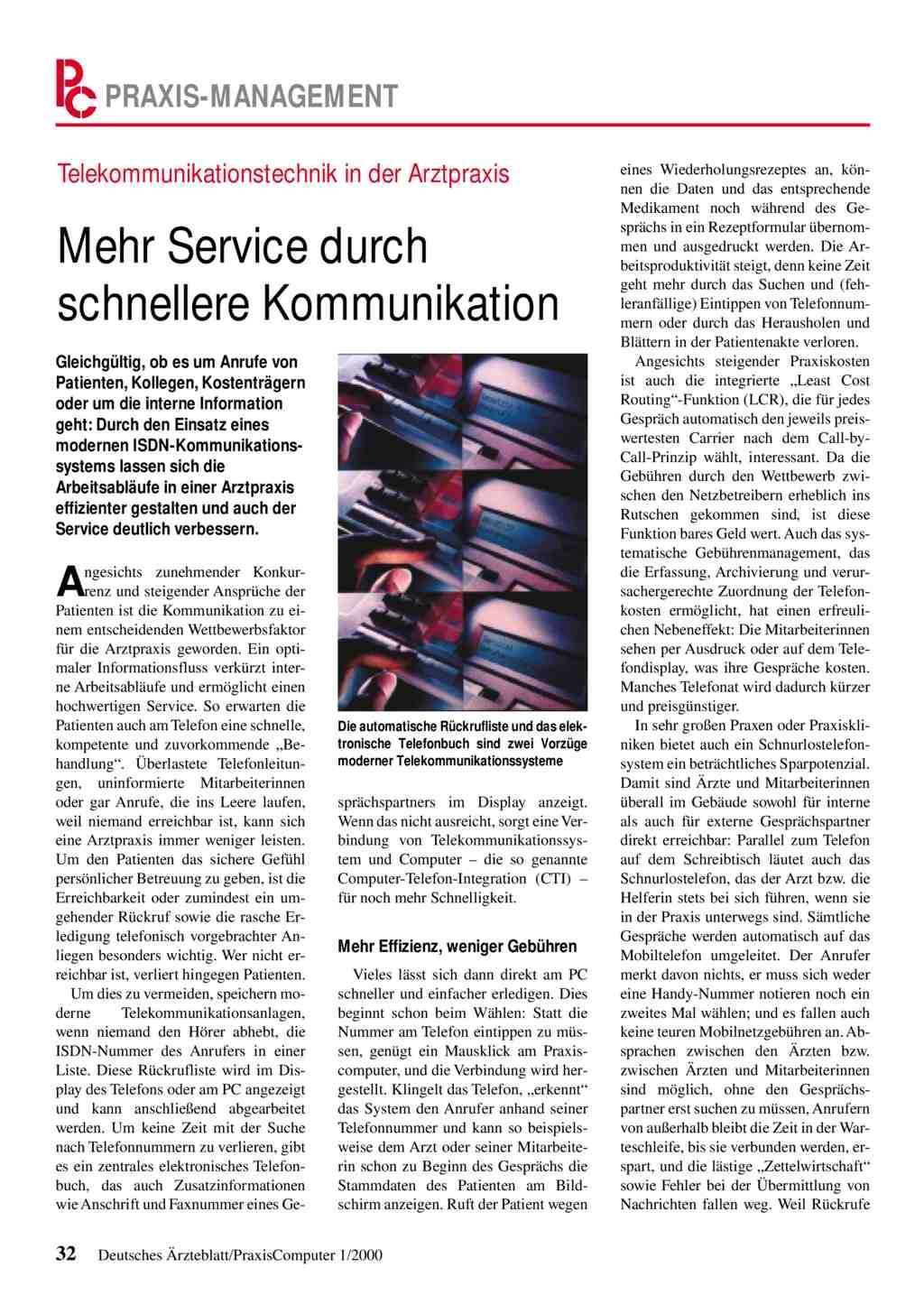 Telekommunikationstechnik in der Arztpraxis: Mehr Service durch ...