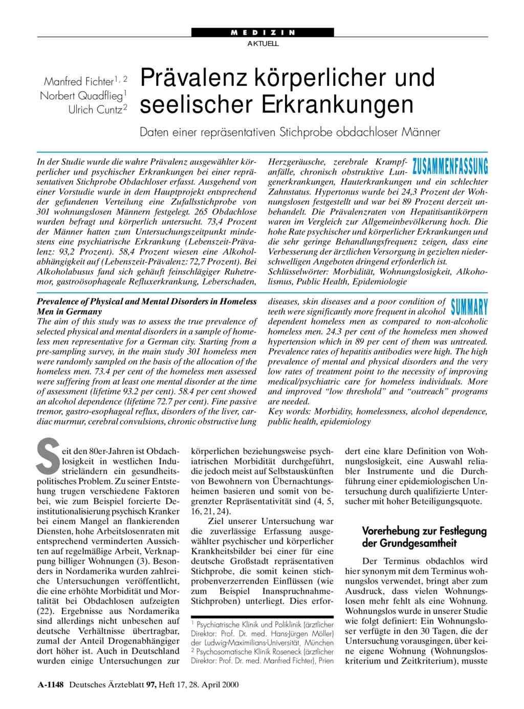 Prävalenz körperlicher und seelischer Erkrankungen: Daten einer ...