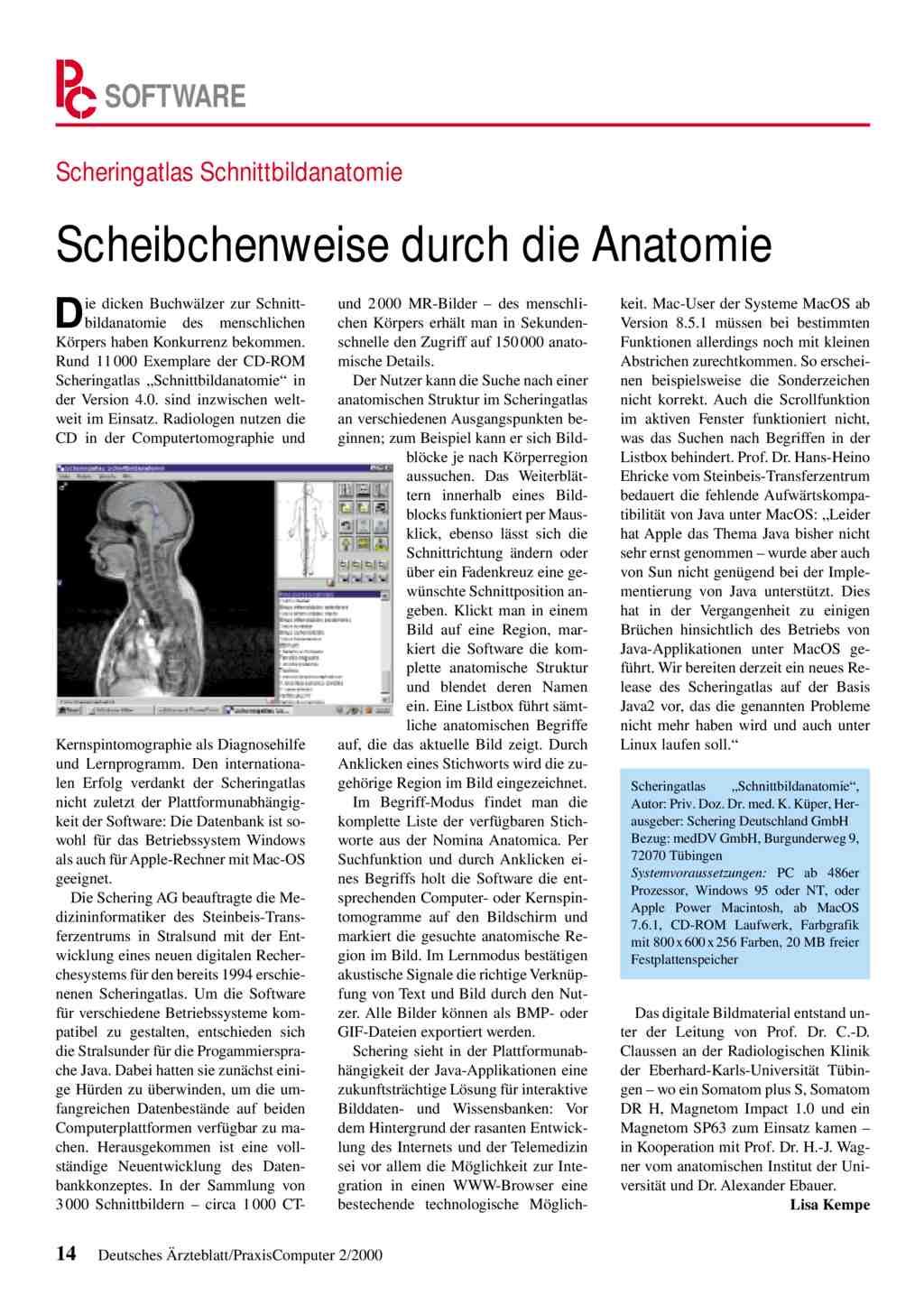 Scheringatlas Schnittbildanatomie: Scheibchenweise durch die Anatomie