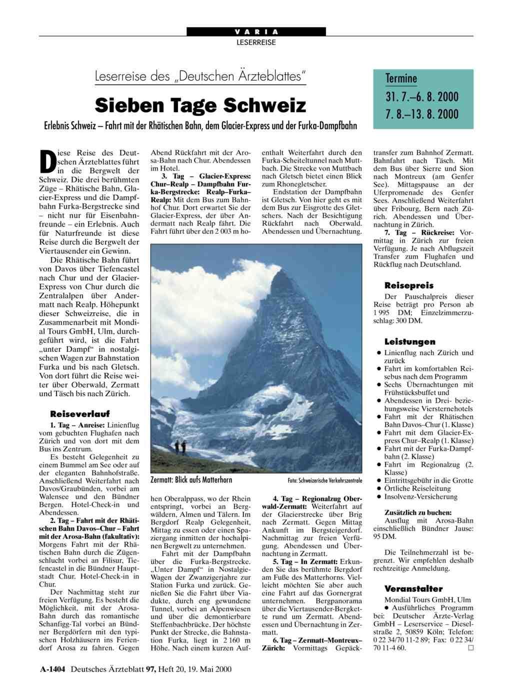 Leserreise des deutschen rzteblattes sieben tage schweiz for Medizin studieren schweiz