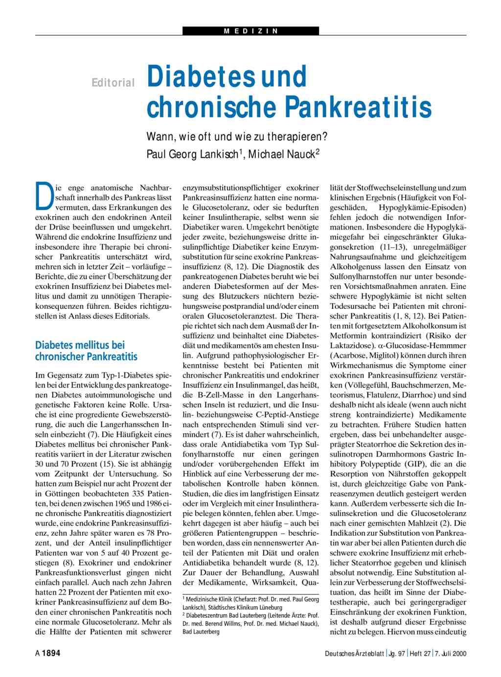 Diabetes und chronische Pankreatitis: Wann, wie oft und wie zu ...