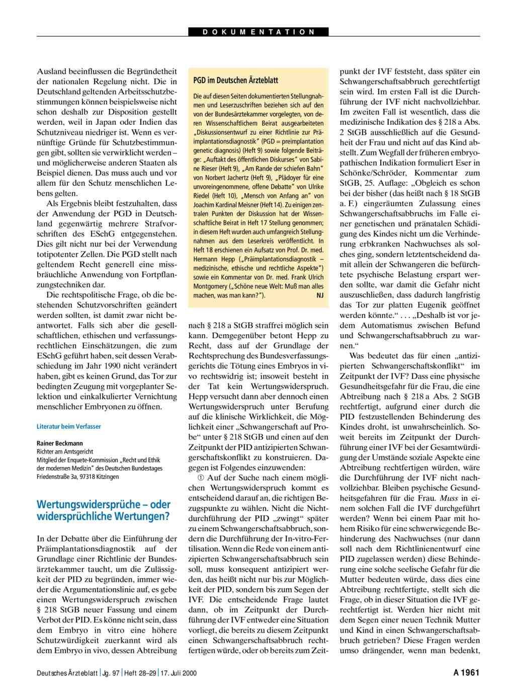 Präimplantationsdiagnostik: Wertungswidersprüche – oder ...