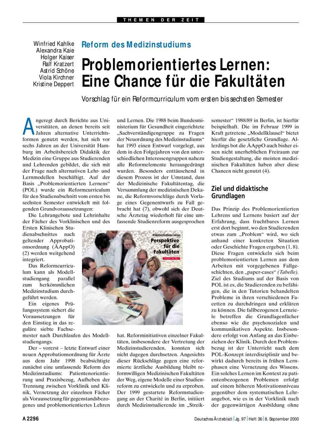 Reform des Medizinstudiums: Problemorientiertes Lernen - Eine Chance ...