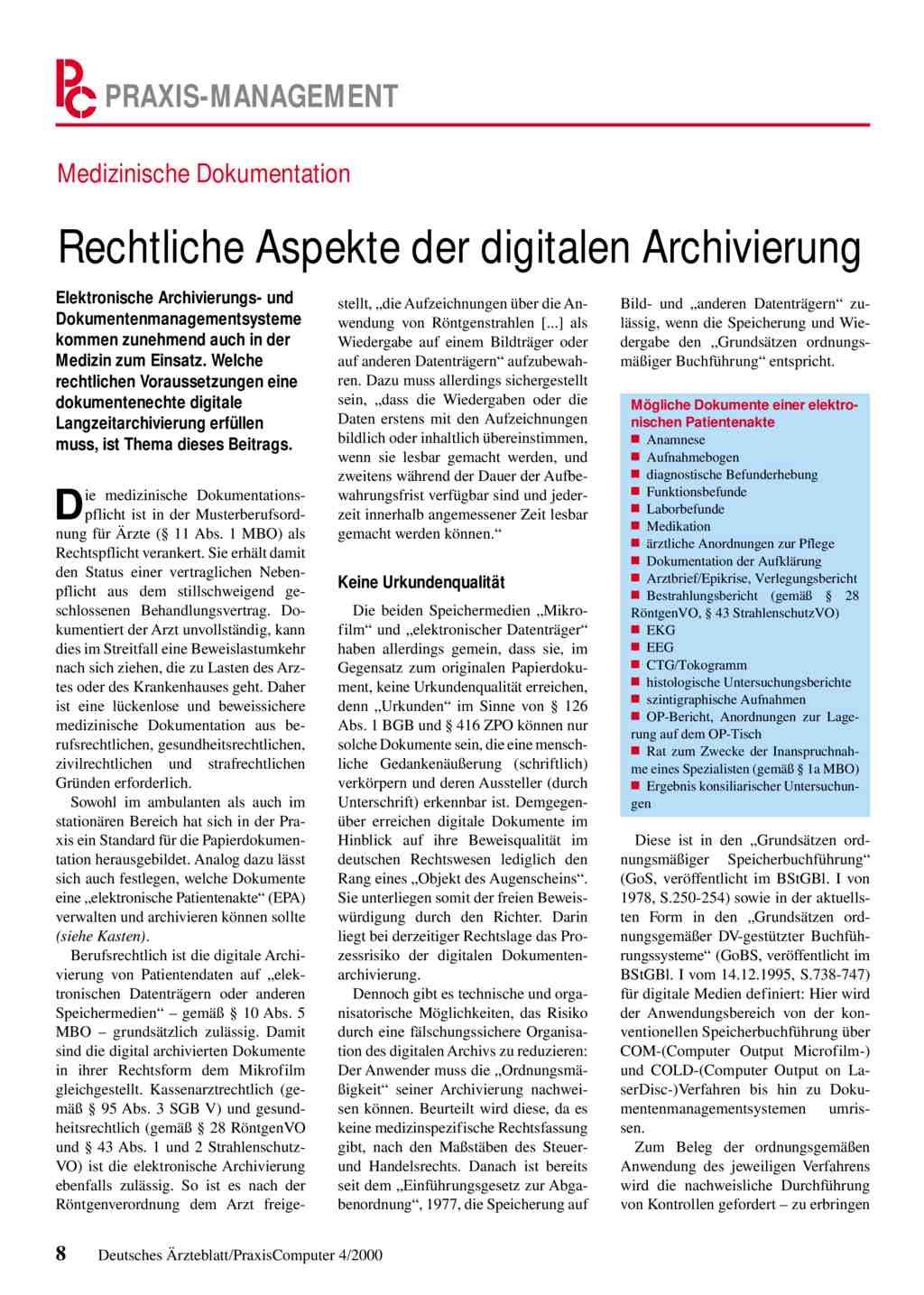 Medizinische Dokumentation: Rechtliche Aspekte der digitalen ...