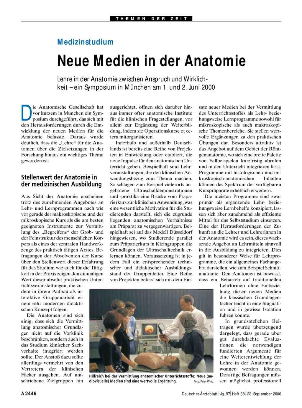 Medizinstudium: Neue Medien in der Anatomie