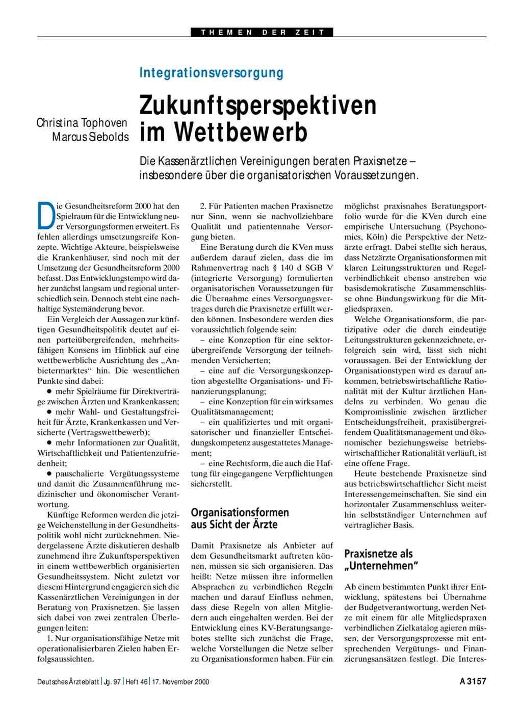 Integrationsversorgung: Zukunftsperspektiven im Wettbewerb