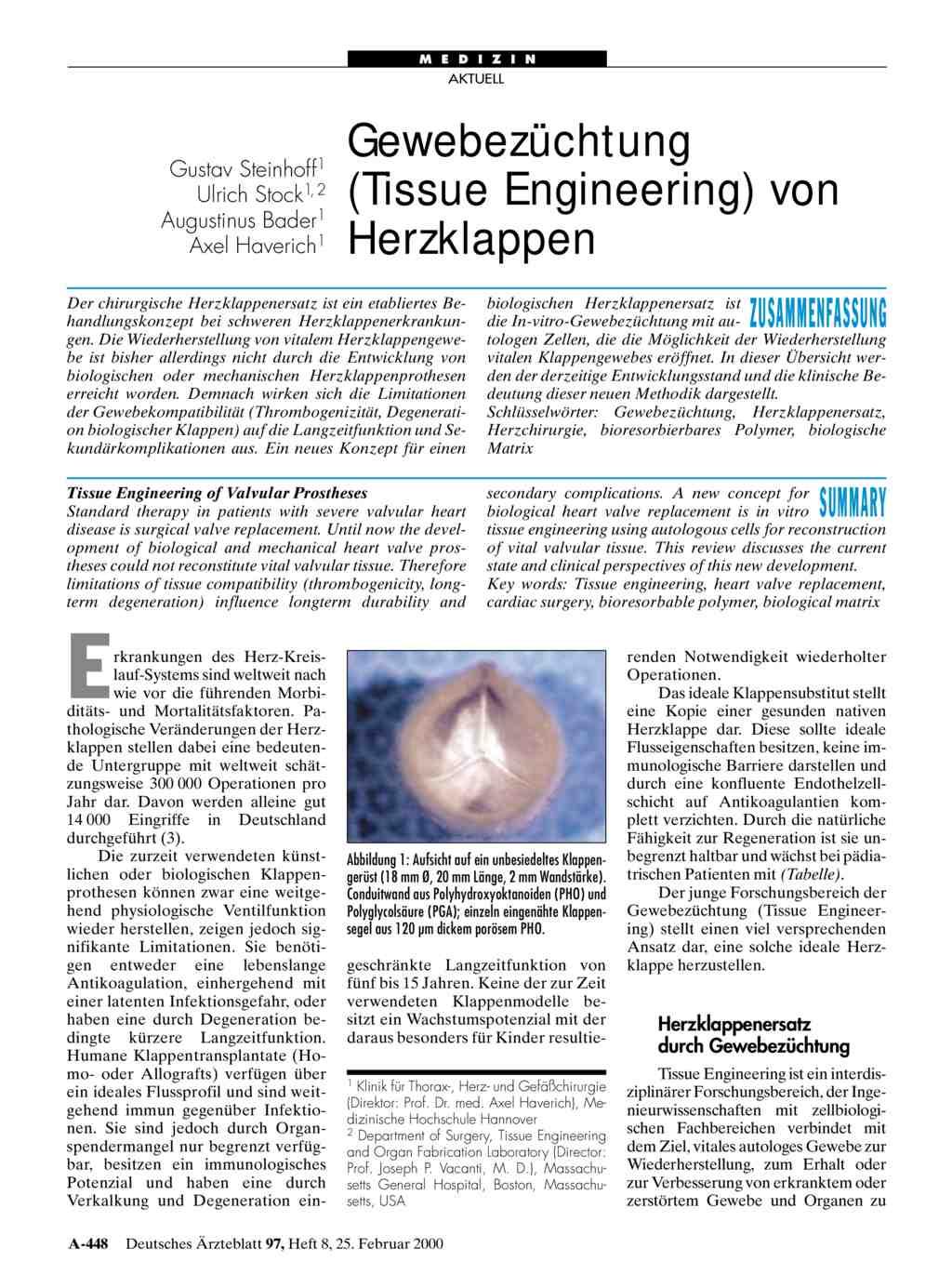 Gewebezüchtung: (Tissue Engineering) von Herzklappen