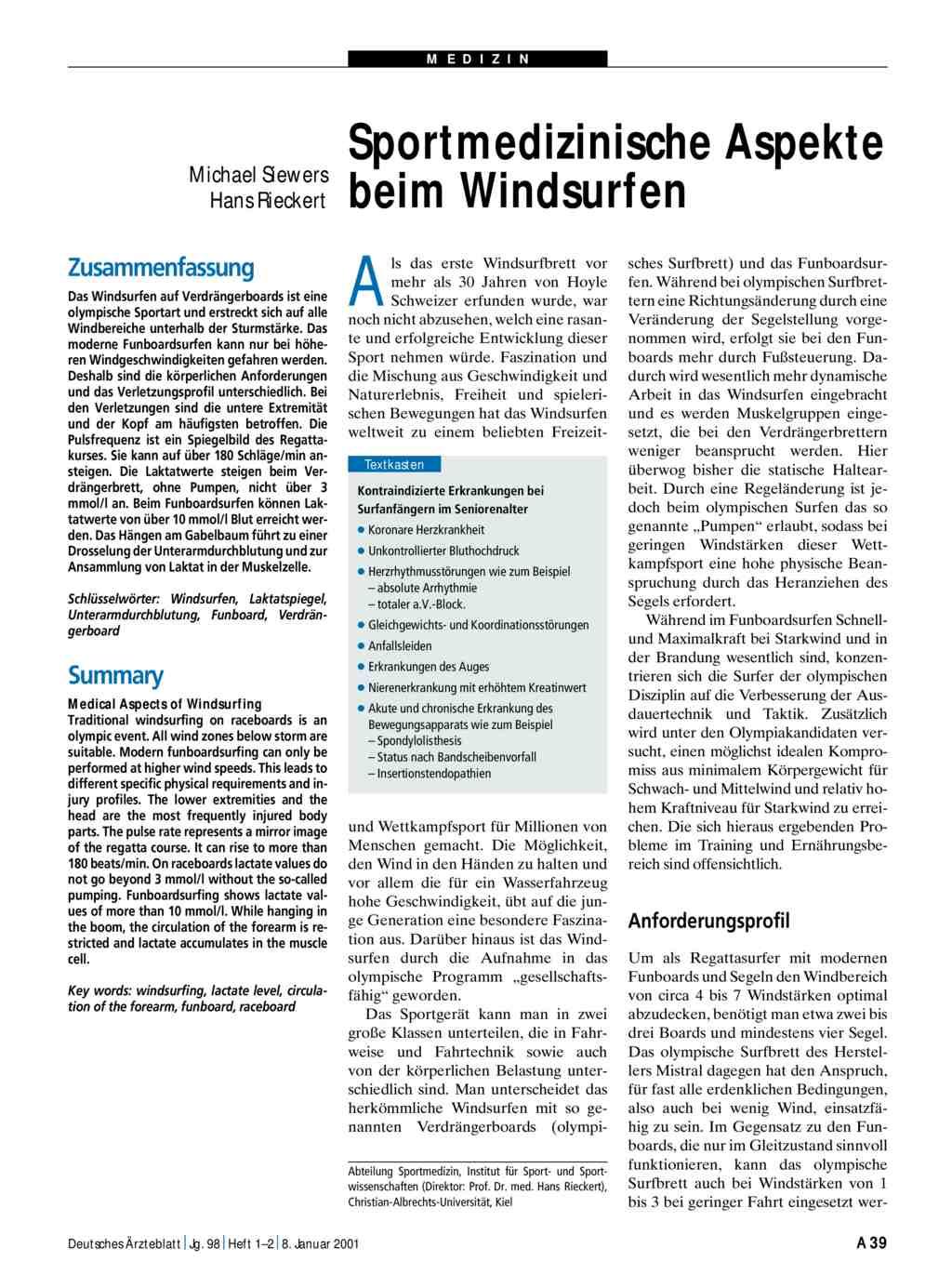 Sportmedizinische Aspekte Beim Windsurfen