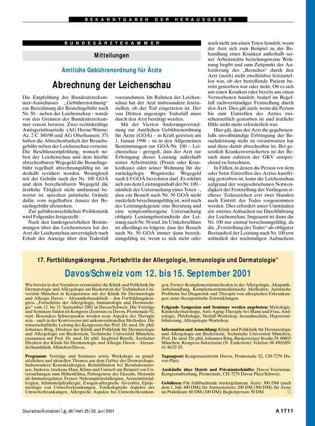 Mitteilungen Amtliche Gebührenordnung Für ärzte Abrechnung Der