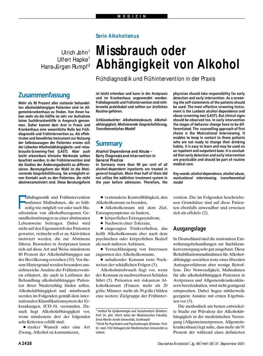 Serie - Alkoholismus: Missbrauch oder Abhängigkeit von Alkohol