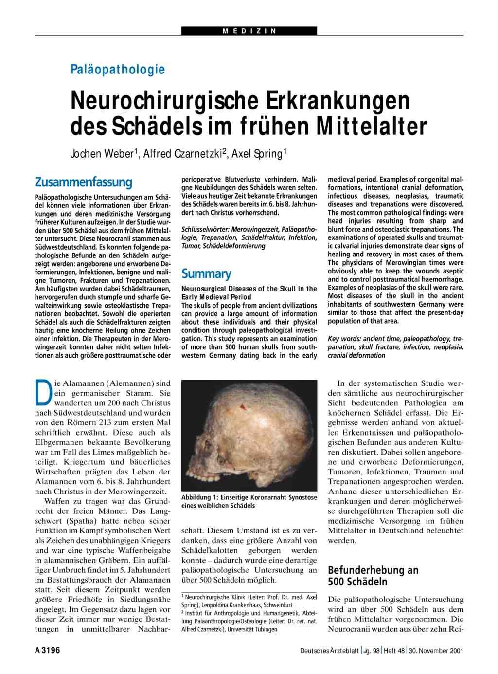 Paläopathologie: Neurochirurgische Erkrankungen des Schädels im ...
