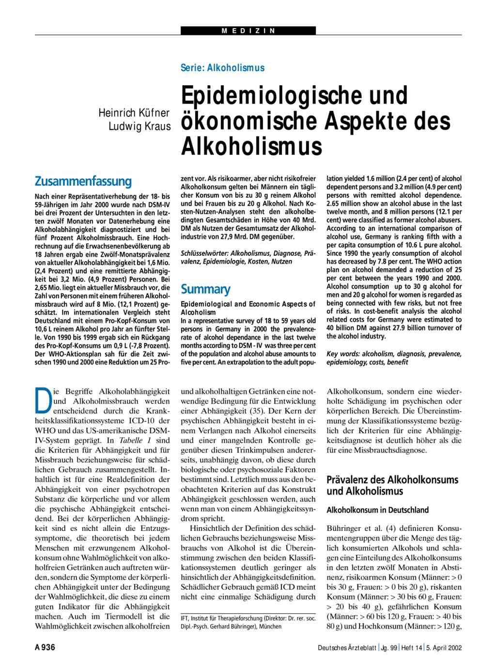 Serie: Alkoholismus - Epidemiologische und ökonomische Aspekte des ...