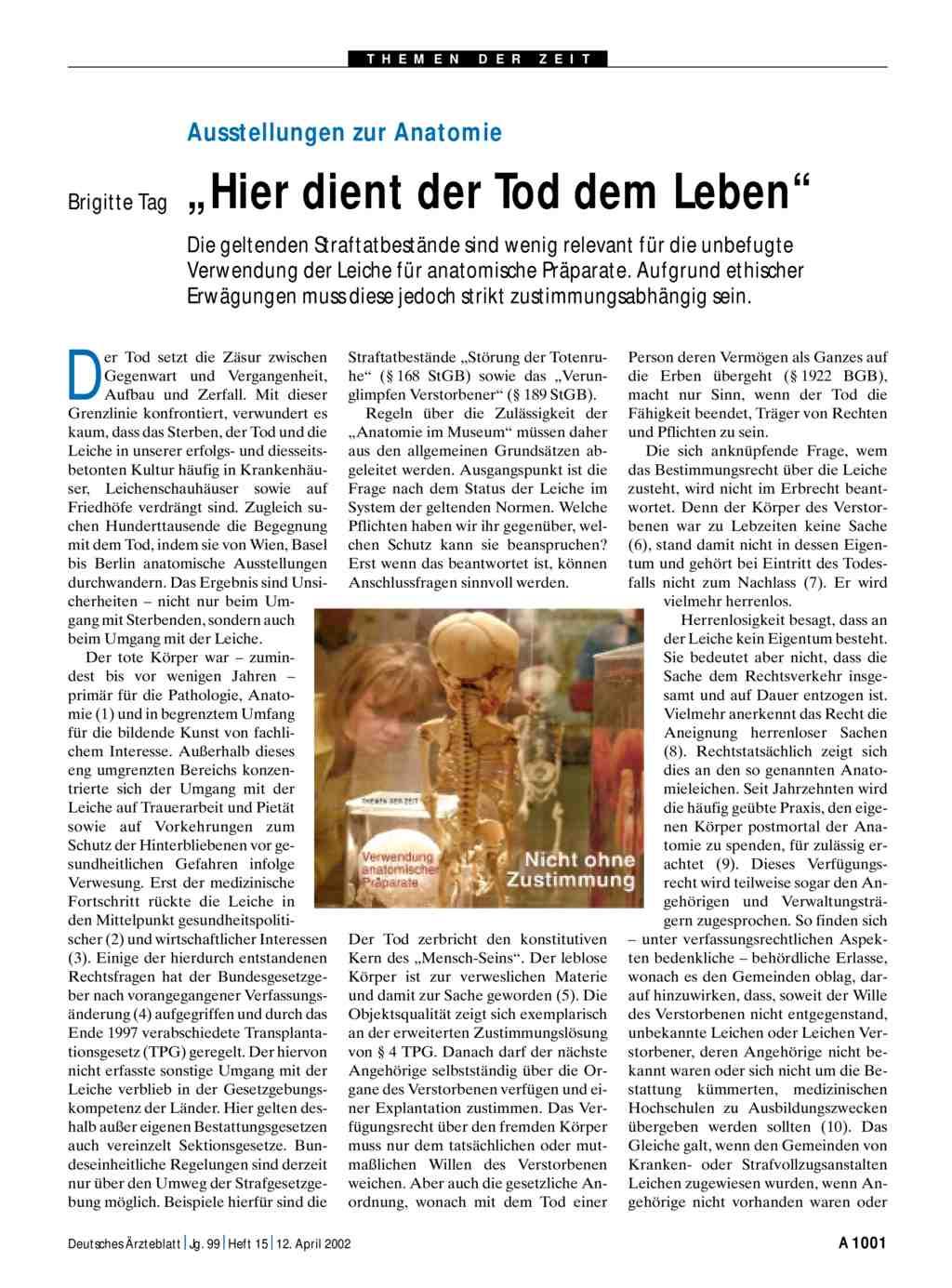 """Ausstellungen zur Anatomie: """"Hier dient der Tod dem Leben"""""""