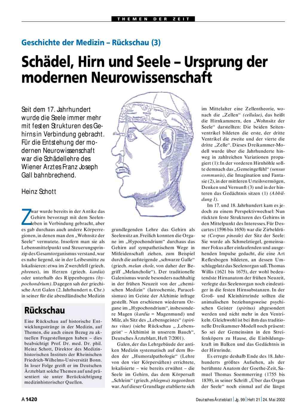 Geschichte der Medizin – Rückschau (3): Schädel, Hirn und Seele ...