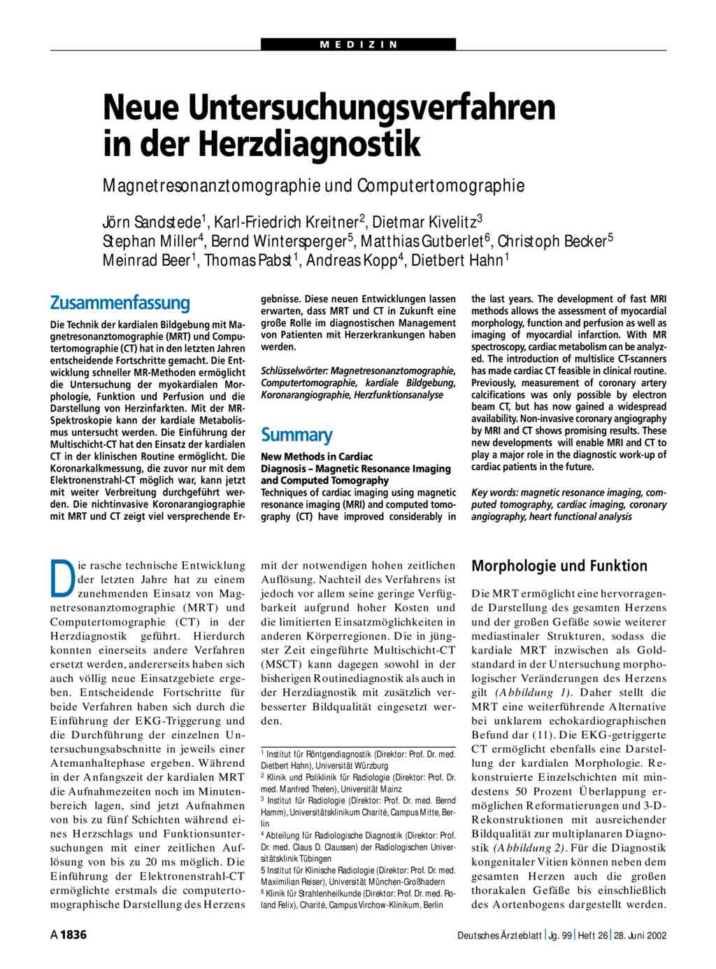 Neue Untersuchungsverfahren in der Herzdiagnostik ...