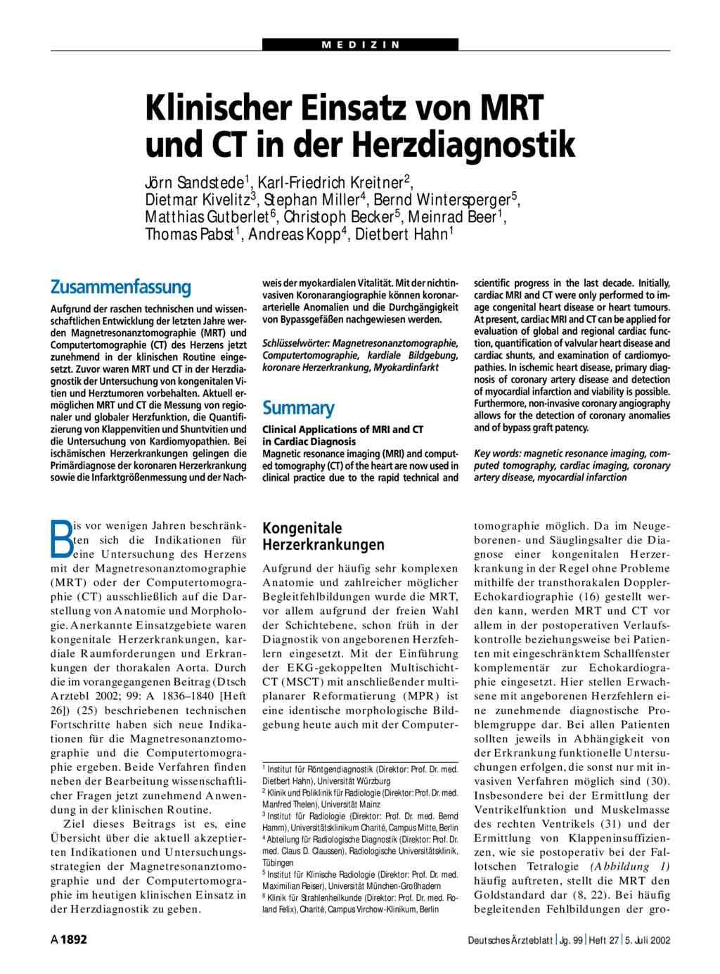 Klinischer Einsatz von MRT und CT in der Herzdiagnostik