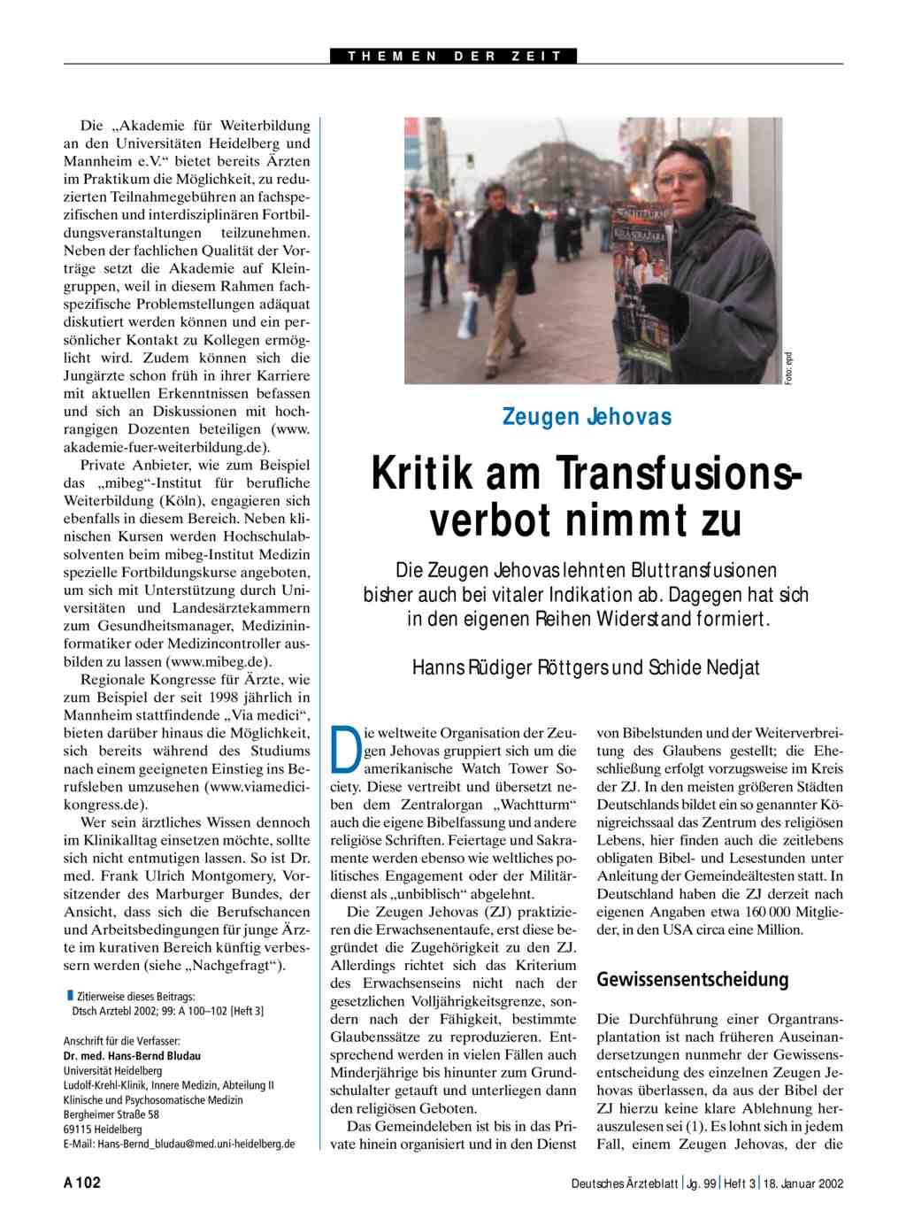 Zeugen Jehovas Kritik Am Transfusionsverbot Nimmt Zu