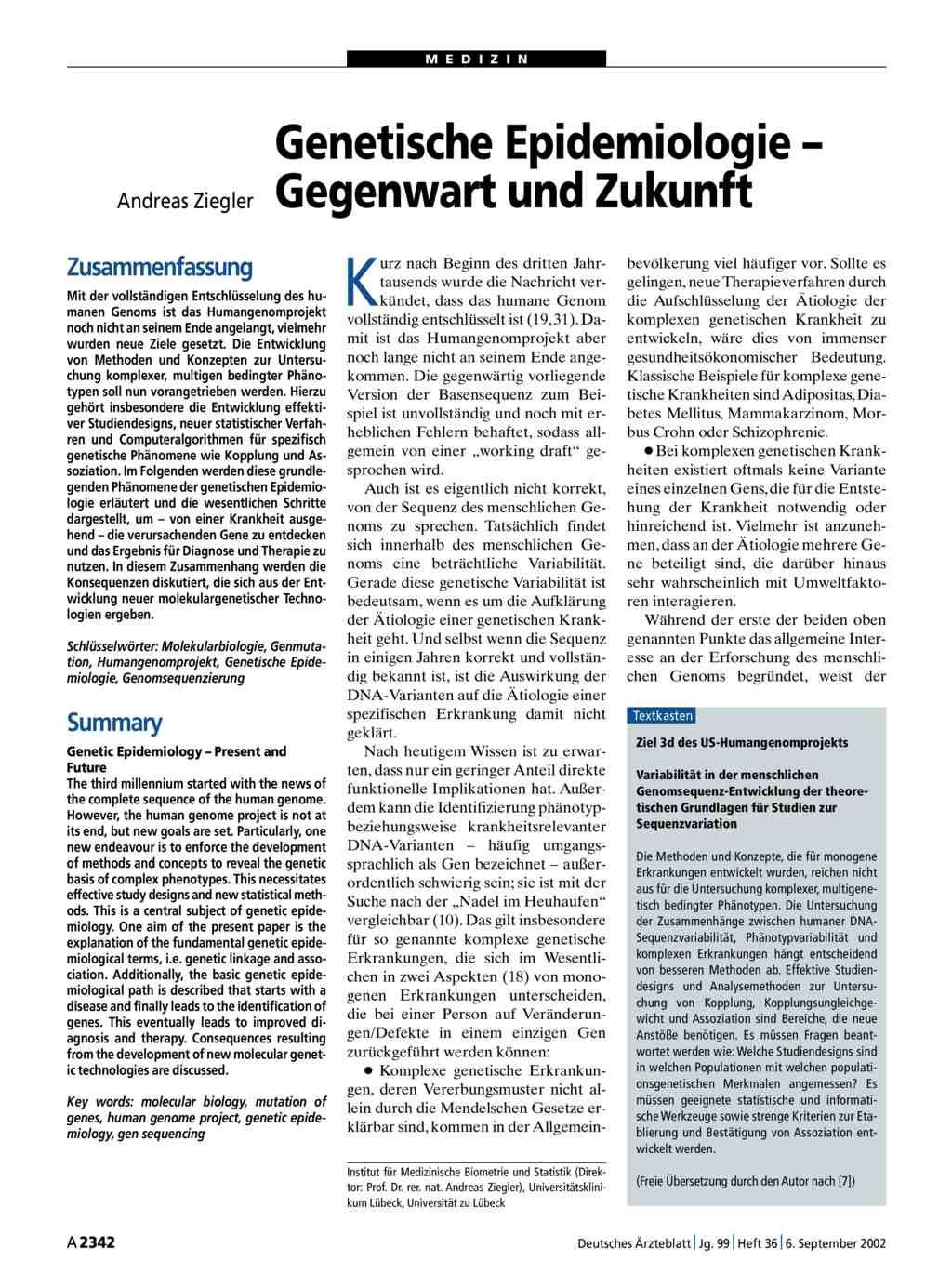 Genetische Epidemiologie – Gegenwart und Zukunft