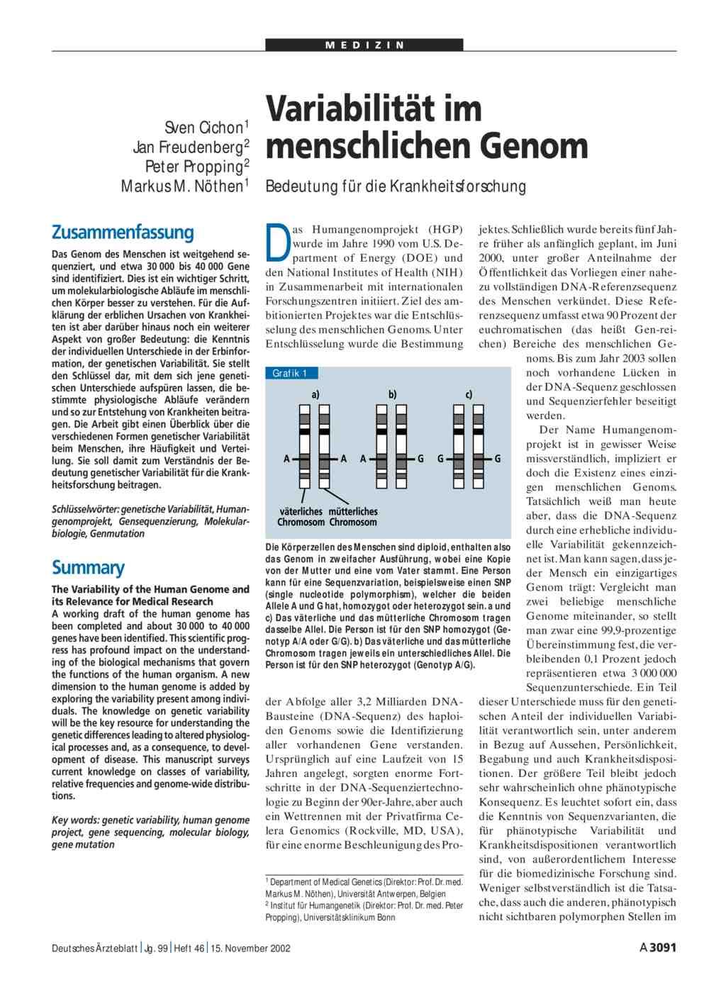 Variabilität im menschlichen Genom: Bedeutung für die ...