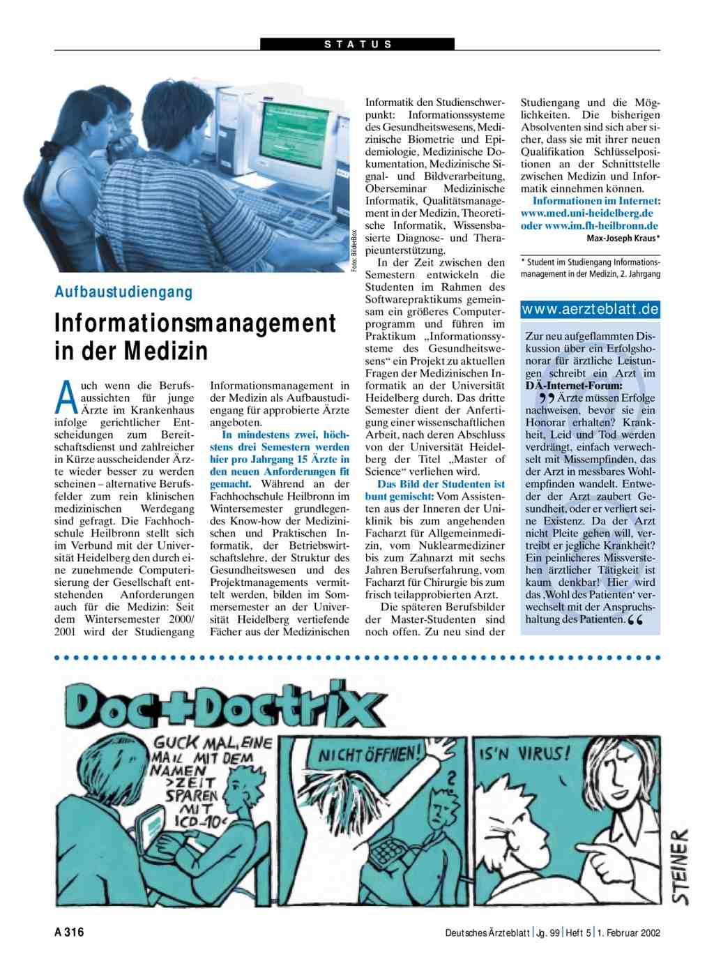 Aufbaustudiengang informationsmanagement in der medizin for Medizin studieren schweiz