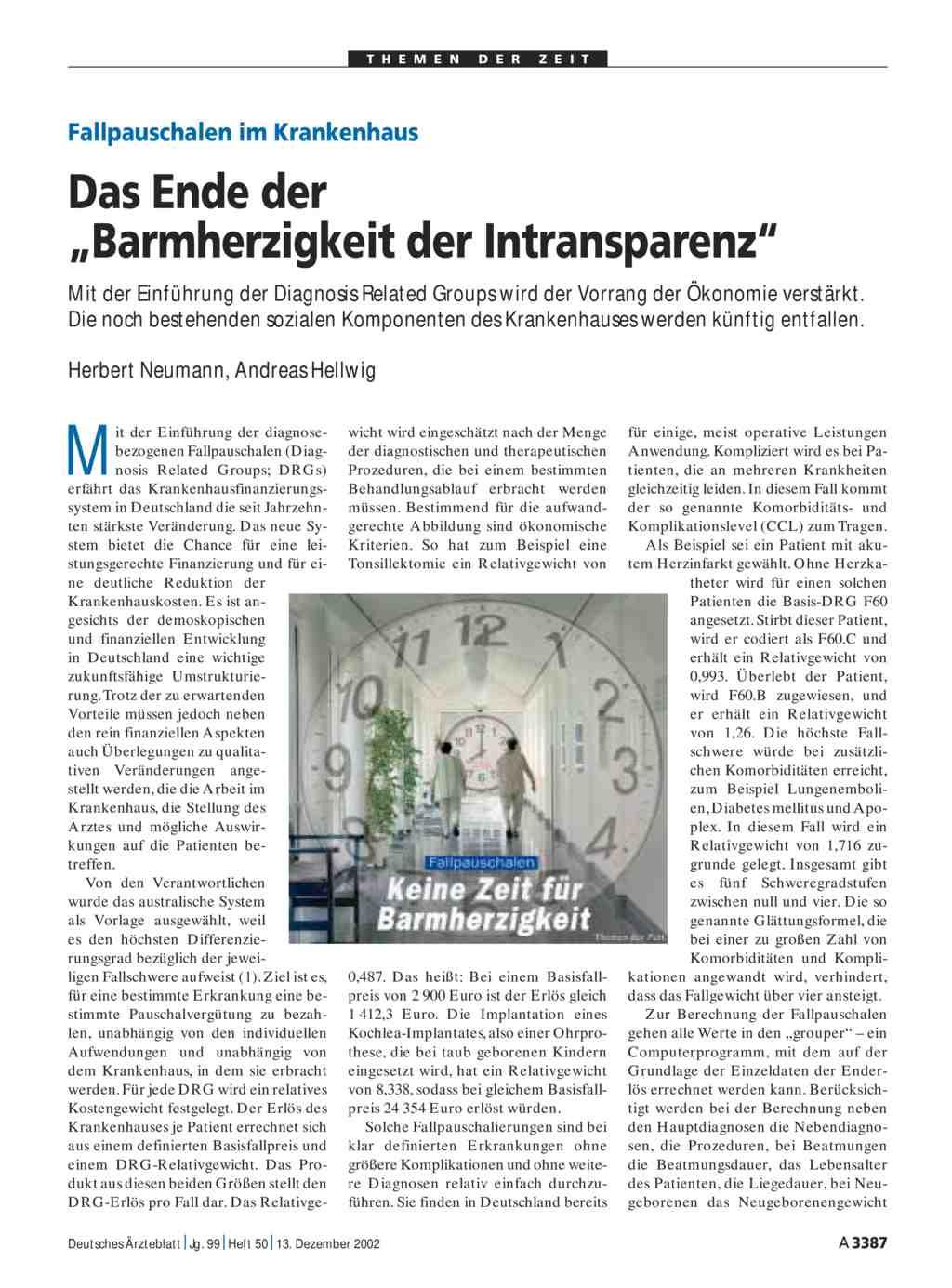 """Fallpauschalen im Krankenhaus: Das Ende der """"Barmherzigkeit der ..."""