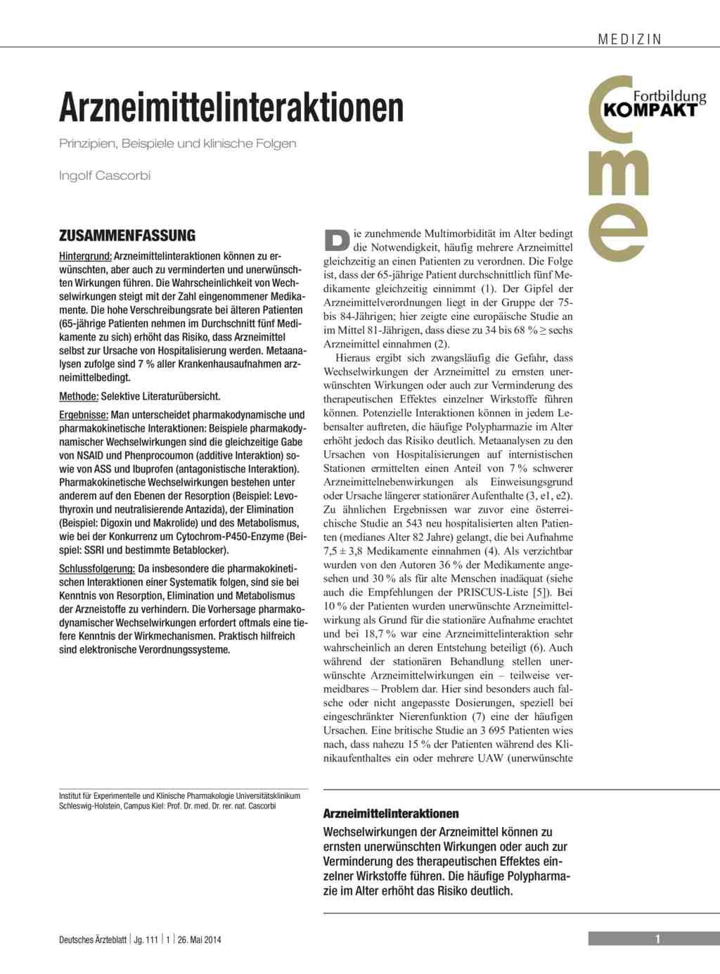 Arzneimittelinteraktionen: Prinzipien, Beispiele und klinische Folgen