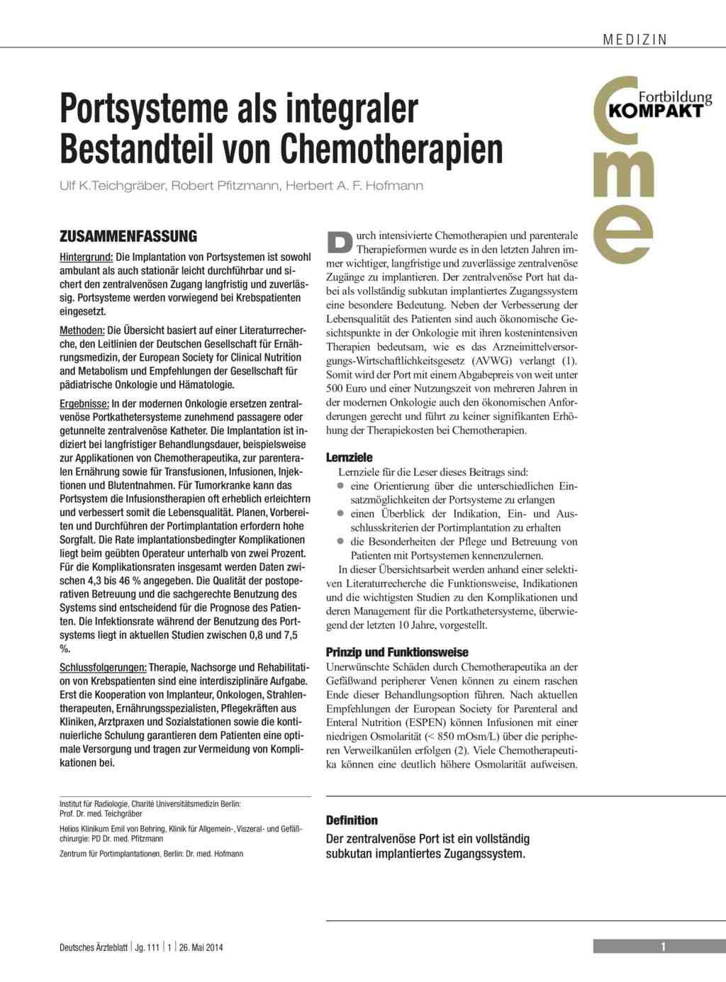 Portsysteme als integraler Bestandteil von Chemotherapien