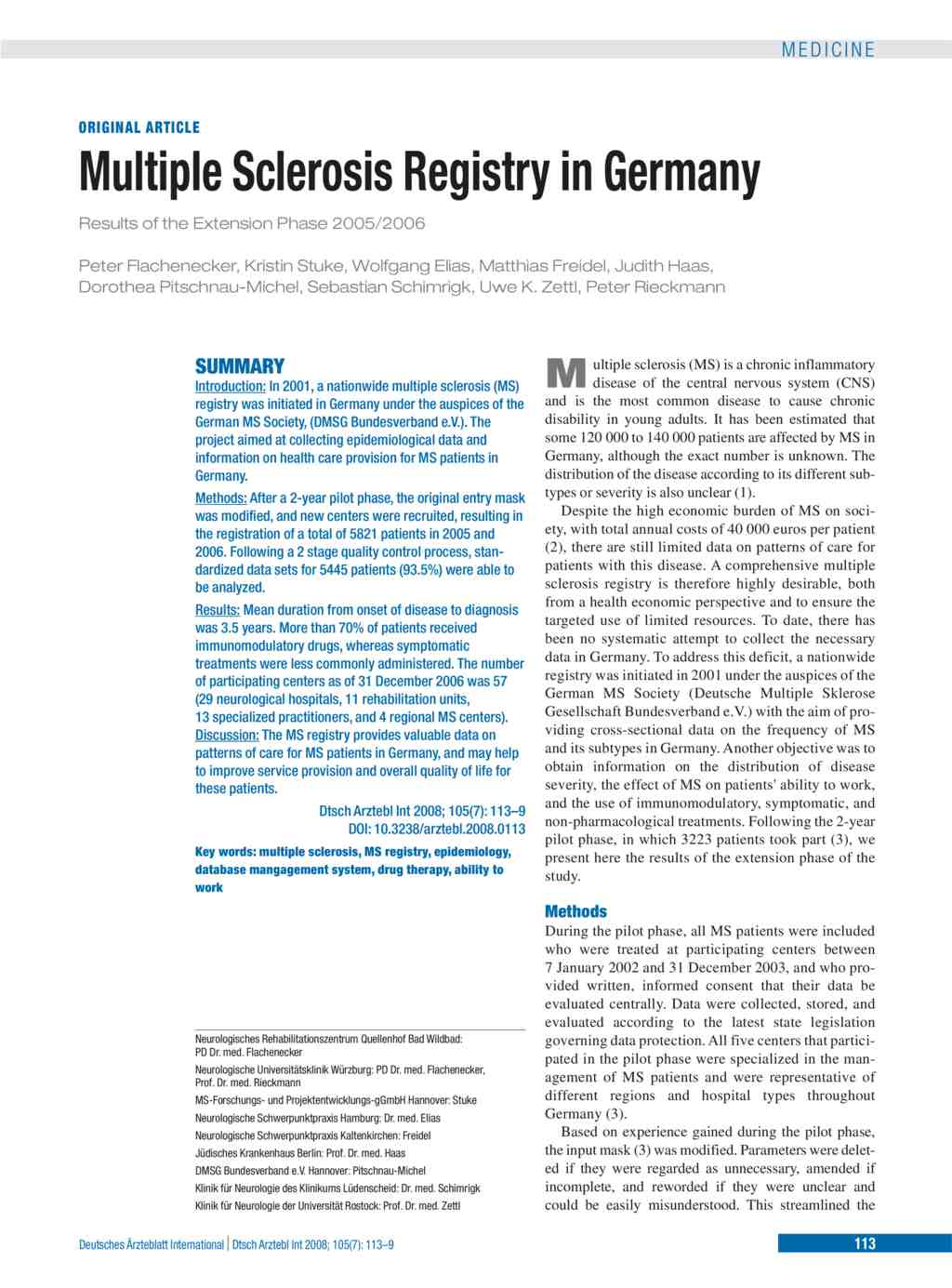 Multiple Sclerosis Registry in Germany – Results of the Extension ...