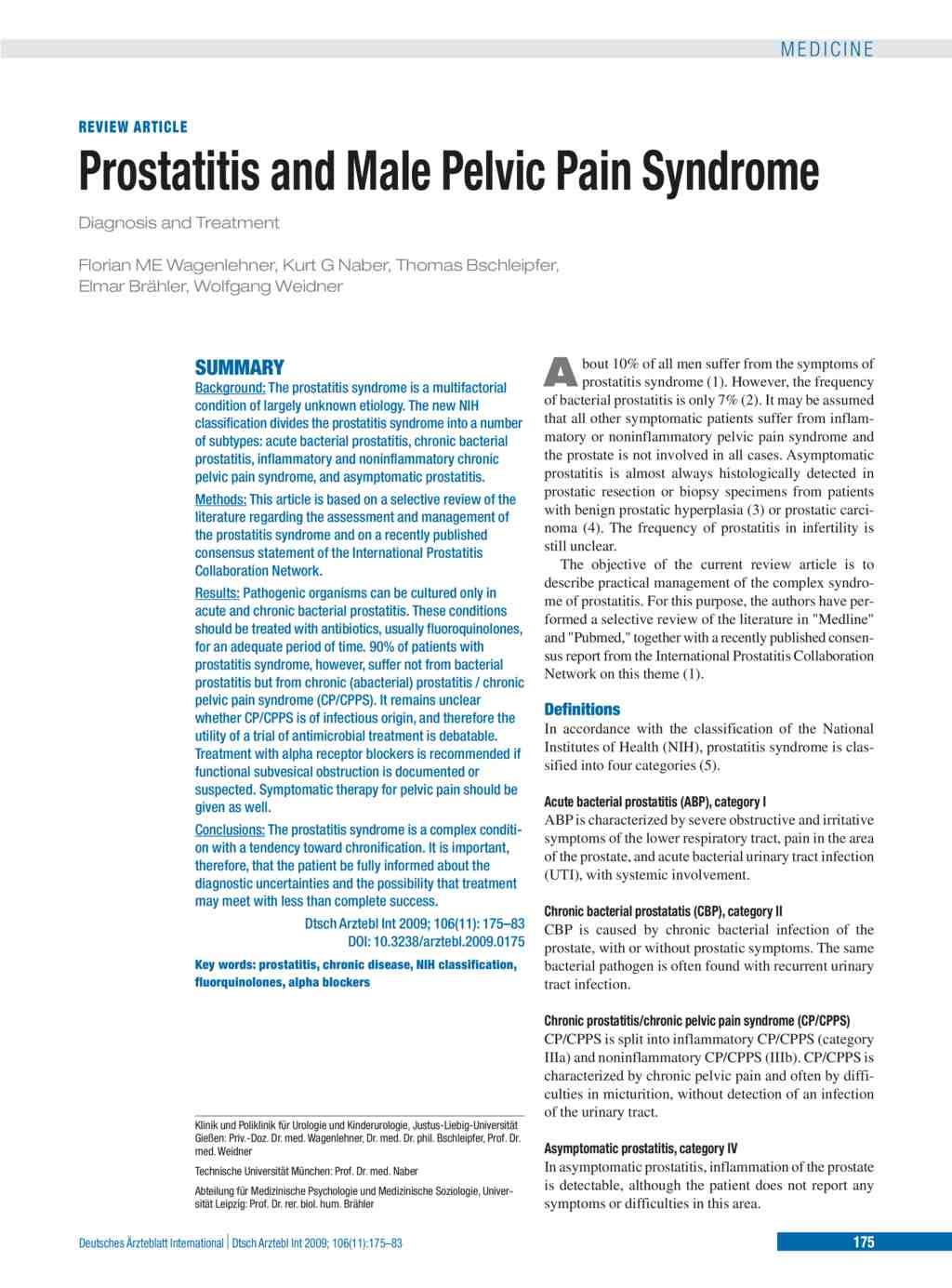 chronic prostatitis without infection