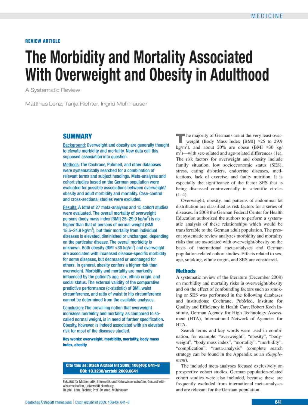 the morbidity and mortality associated with overweight and obesity